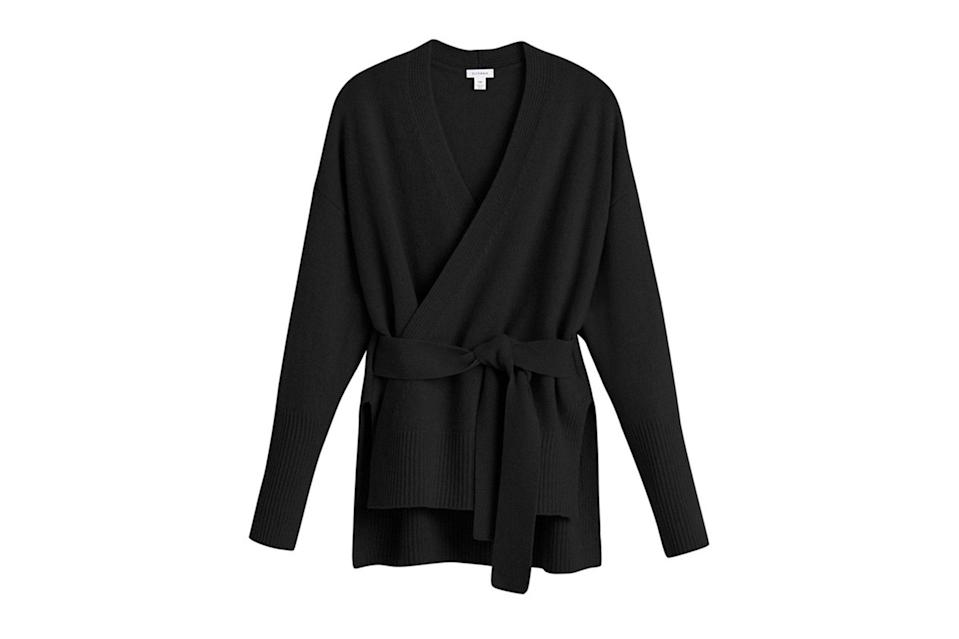 """$245, Cuyana. <a href=""""https://www.cuyana.com/recycled-cashmere-soft-wrap-sweater.html#camel"""" rel=""""nofollow noopener"""" target=""""_blank"""" data-ylk=""""slk:Get it now!"""" class=""""link rapid-noclick-resp"""">Get it now!</a>"""