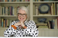 Senior influencer Sandra Sallin, 80, poses for a portrait at home, Friday, Aug. 20, 2021, in Los Angeles. Sallin is among a growing number of seniors making names for themselves on social media. (AP Photo/Chris Pizzello)