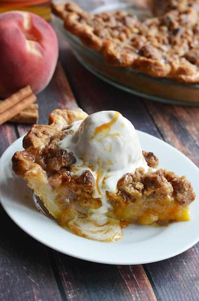 """<p>You know what makes peach pie better? Bourbon.</p><p>Get the recipe from <a rel=""""nofollow"""" href=""""http://hostthetoast.com/maple-bourbon-brown-butter-peach-pie/"""">Host The Toast</a>.</p>"""