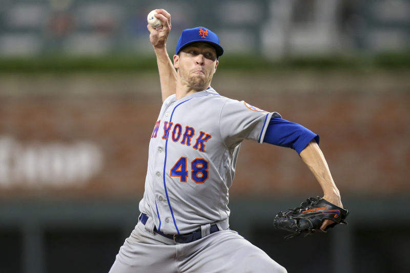 Jun 18, 2019; Atlanta, GA, USA; New York Mets starting pitcher Jacob deGrom (48) throws against the Atlanta Braves in the ninth inning at SunTrust Park. Mandatory Credit: Brett Davis-USA TODAY Sports