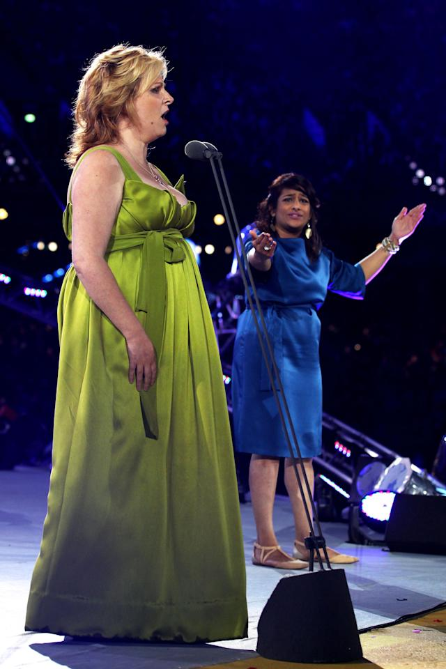 LONDON, ENGLAND - AUGUST 29: Singer Denise Leigh and actor Deepa Shastri perform during the Opening Ceremony of the London 2012 Paralympics at the Olympic Stadium on August 29, 2012 in London, England. (Photo by Dan Kitwood/Getty Images)