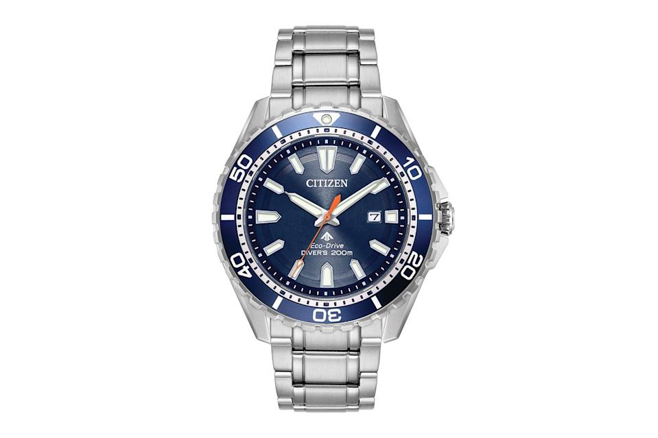 "Water-resistant up to 200 meters, this rugged beaut runs on the Citizen's signature Eco-Drive movement—which is powered entirely by light and should last a literal lifetime. $253, Amazon. <a href=""https://www.amazon.com/Citizen-Eco-Drive-Japanese-Quartz-Diving-Stainless-Steel/dp/B071FBZLWN/"" rel=""nofollow noopener"" target=""_blank"" data-ylk=""slk:Get it now!"" class=""link rapid-noclick-resp"">Get it now!</a>"
