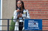 <p>Kerry Washington spoke at an early vote mobilization event in Durham, North Carolina.</p>