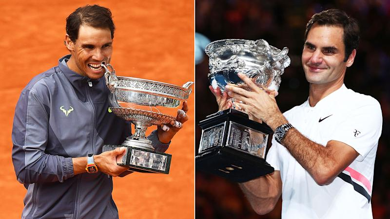 Rafael Nadal is now two grand slam titles behind Roger Federer's record haul of 20. Pic: Getty