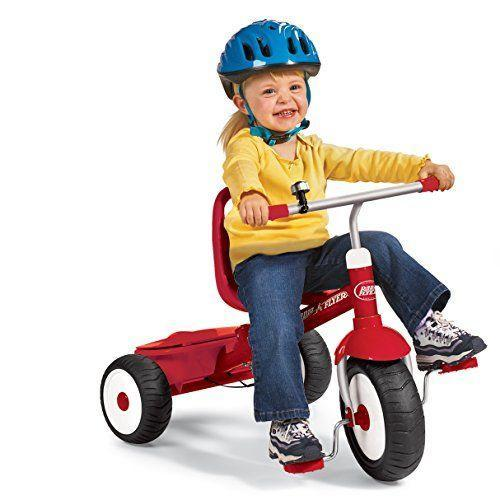 "<p><strong>Radio Flyer</strong></p><p>amazon.com</p><p><strong>$69.00</strong></p><p><a href=""https://www.amazon.com/dp/B006LMZJY8?tag=syn-yahoo-20&ascsubtag=%5Bartid%7C10055.g.34507465%5Bsrc%7Cyahoo-us"" rel=""nofollow noopener"" target=""_blank"" data-ylk=""slk:Shop Now"" class=""link rapid-noclick-resp"">Shop Now</a></p><p>The Radio Flyer Deluxe Steer and Stroll can operate either as a parent push or child pedal trike. The seat is adjustable forward or backwards, so it can grow with your child. <strong>Kid testers love the included ringing bell and covered storage bin for stashing away favorite goodies</strong>. </p><p><strong>Ages:</strong> 2-5 years old<strong><br>Max Weight: </strong>49 pounds</p>"