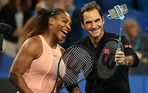 Serena Williams of the United States and Roger Federer of Switzerland take a selfie following their mixed doubles match during day four of the 2019 Hopman Cup at RAC Arena on January 01, 2019 in Perth, Australia. - Credit: Getty Images