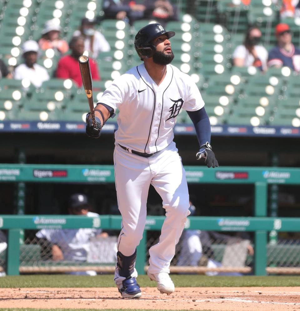 Detroit Tigers right fielder Nomar Mazara homers against the Cleveland Indians during the first inning Sunday, April 4, 2021 at Comerica Park.