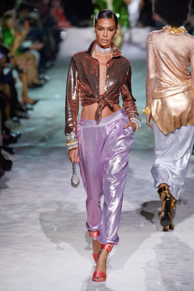 Metallic low-rise harem pants at Tom Ford. - Credit: Courtesy of Tom Ford
