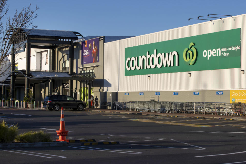 A general view outside a supermarket in Auckland, New Zealand, Saturday, Sept. 4, 2021. New Zealand authorities say they shot and killed a violent extremist, Friday Sept. 3, after he entered a supermarket and stabbed and injured six shoppers. Prime Minister Jacinda Ardern described Friday's incident as a terror attack. (AP Photo/Brett Phibbs)