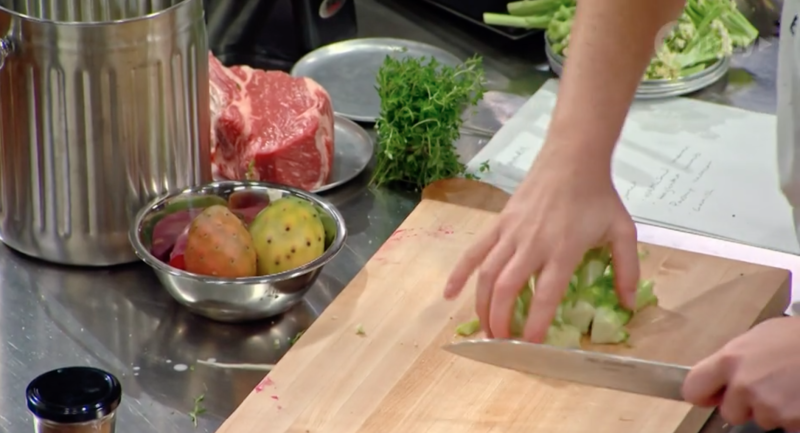 Chopping food in the MasterChef kitchen