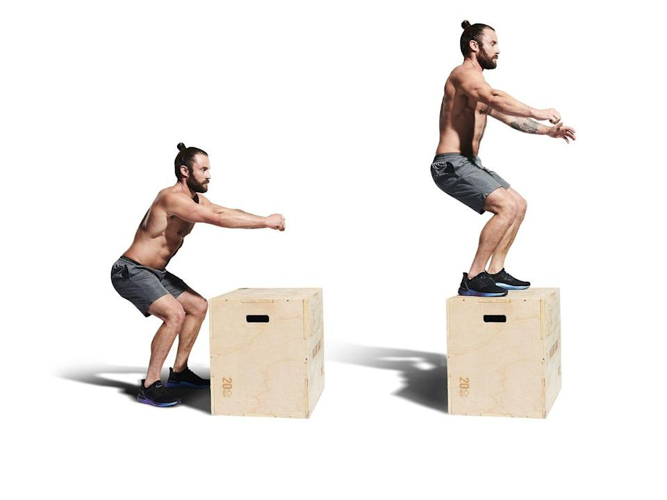 <ol><li>Take a step back from an 18in box, dip your knees and begin swinging your arms. </li><li>As your arms fly forward, jump onto the box, planting both feet firmly with soft knees and stand tall. </li><li>Now jump off the other side of the box. That's one rep</li></ol>