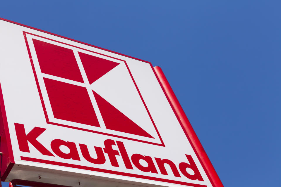 Miercurea Ciuc, Romania - June 23, 2011: Sign of Kaufland, that is a German hypermarket chain part of the same group as Lidl and Handelshof. Miercurea Ciuc is a Hungarian populated city, formerly part of Hungary. Its Hungarian name is Csikszereda.