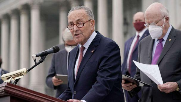 PHOTO: Senate Minority Leader Chuck Schumer holds a news conference at the Capitol in Washington, Oct. 22, 2020. (J. Scott Applewhite/AP, FILE)