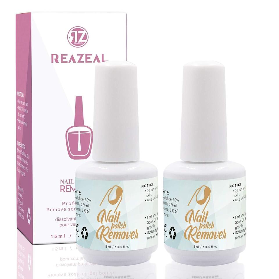 """If you can't get to a nail salon, you can easily take off chipped gel polish with this formula that doesn't require hours of soaking. Apply to your nail and it'll bubble and shrivel up polish quickly, saving you time and money.<br /><br /><strong>Promising review:</strong>""""As someone who enjoys doing her own nails using dip powder, gel polish and polygel, the most dreaded part has always been the removal of said products. I have extremely dry cuticles as is, and soaking my fingers for 15-20 minutes in acetone makes them so much worse. This product is the answer to my problems! Before putting on this product I just lightly buffed the top coat of my polish and then watched magic happen before my eyes.<strong> The product starts to chip and crack, and after about 2-3 minutes I was able to completely remove the gel polish I had on without the need for acetone!</strong> YAYYY!""""— <a href=""""https://www.amazon.com/dp/B07V6VPW22?tag=huffpost-bfsyndication-20&ascsubtag=5892167%2C22%2C50%2Cd%2C0%2C0%2C0%2C962%3A1%3B901%3A2%3B900%3A2%3B974%3A3%3B975%3A2%3B982%3A2%2C16502763%2C0"""" target=""""_blank"""" rel=""""noopener noreferrer"""">Amazon Customer</a><a href=""""https://www.amazon.com/gp/customer-reviews/R2OJYJIZSBN10Q?tag=bfemmalord-20&ascsubtag=5892167%2C22%2C50%2Cd%2C0%2C0%2C0%2C962%3A1%3B901%3A2%3B900%3A2%3B974%3A2%3B975%3A2%3B982%3A2%2C16502722%2C0"""" target=""""_blank"""" rel=""""nofollow noopener noreferrer"""" data-skimlinks-tracking=""""5892167"""" data-vars-affiliate=""""Amazon"""" data-vars-href=""""https://www.amazon.com/gp/customer-reviews/R2OJYJIZSBN10Q?tag=bfemmalord-20&ascsubtag=5892167%2C22%2C50%2Cmobile_web%2C0%2C0%2C16502722"""" data-vars-keywords=""""cleaning"""" data-vars-link-id=""""16502722"""" data-vars-price="""""""" data-vars-product-id=""""20957430"""" data-vars-product-img="""""""" data-vars-product-title="""""""" data-vars-retailers=""""Amazon""""><br /><br /></a><strong>Get it from Amazon for<a href=""""https://www.amazon.com/dp/B07V6VPW22?tag=huffpost-bfsyndication-20&ascsubtag=5892167%2C22%2C50%2Cd%2C0%2C0%2C0%2C962%3A1%3B901%3A2%3B900%3"""