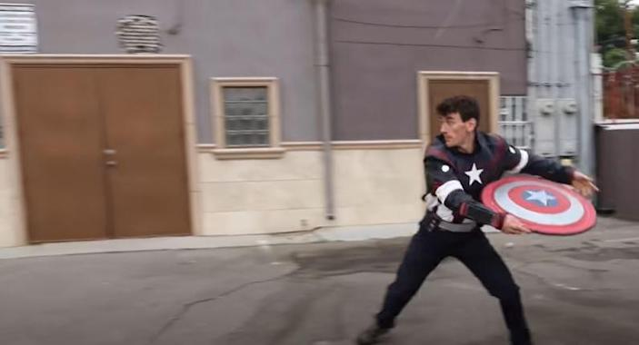 YouTuber JLaservideo throws his DIY Captain America shield.