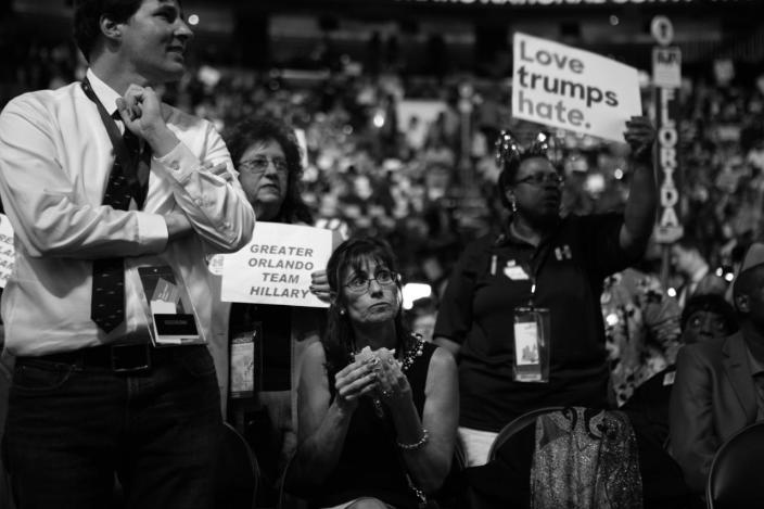 <p>A person sitting in the Florida Delegation eats during the DNC Convention in Philadelphia, PA. on July 25, 2016. (Photo: Khue Bui for Yahoo News)</p>