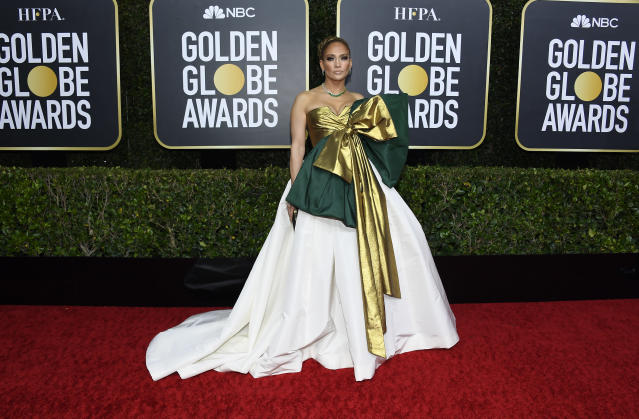 Twitter users compare Jennifer Lopez's Golden Globes dress to 'giant Christmas present'