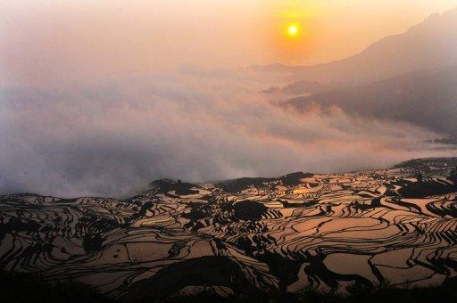 File photo shows paddy fields on a hillslope in the mountainous region of Yuanyang in China's Yunnan province. More than a billion people worldwide could starve if India and Pakistan unleash nuclear weapons because even a 'limited' nuclear war would cause major climate disruptions, a study warned
