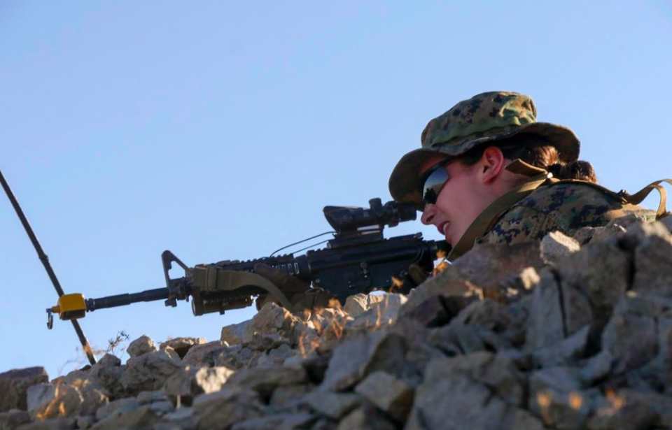 A woman has become the first female US Marine to complete the notoriously tough infantry officer training course [Photo: Twitter/@GenRobertNeller]