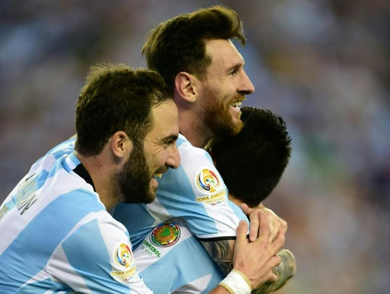 Argentina's Lionel Messi and Gonzalo Higuain celebrate after scoring against Venezuela during their 2016 Copa America Centenario quarter-final match, in Foxborough, Massachusetts