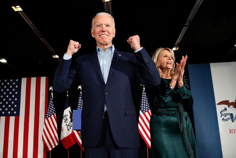 Democratic presidential candidate former Vice President Joe Biden at a caucus night campaign rally on Feb. 3, 2020, in Des Moines with Jill Biden.