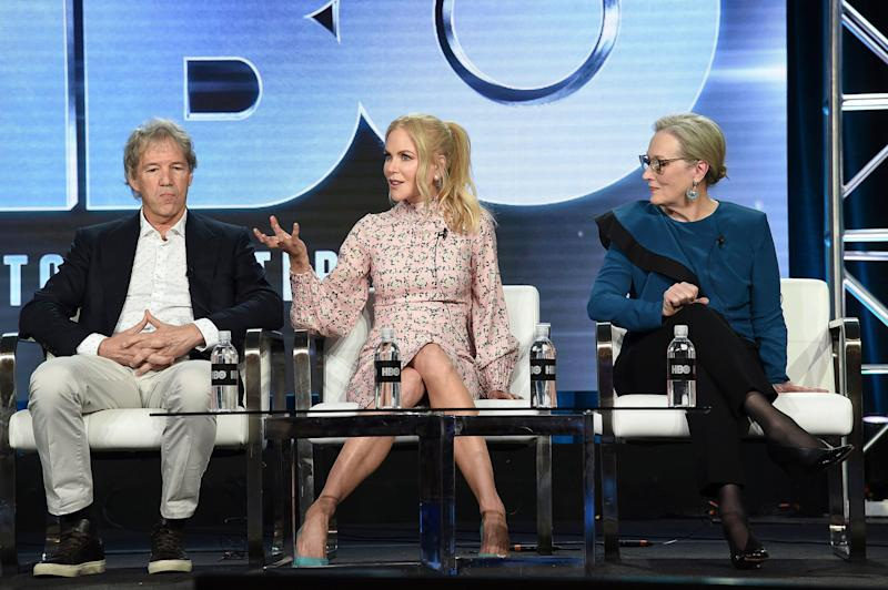 "David E. Kelley, from left, Nicole Kidman and Meryl Streep participate in the ""Big Little Lies"" panel during the HBO portion of the TCA Winter Press Tour on Friday, Feb. 8, 2019, in Pasadena, Calif. (Photo by Richard Shotwell/Invision/AP)"