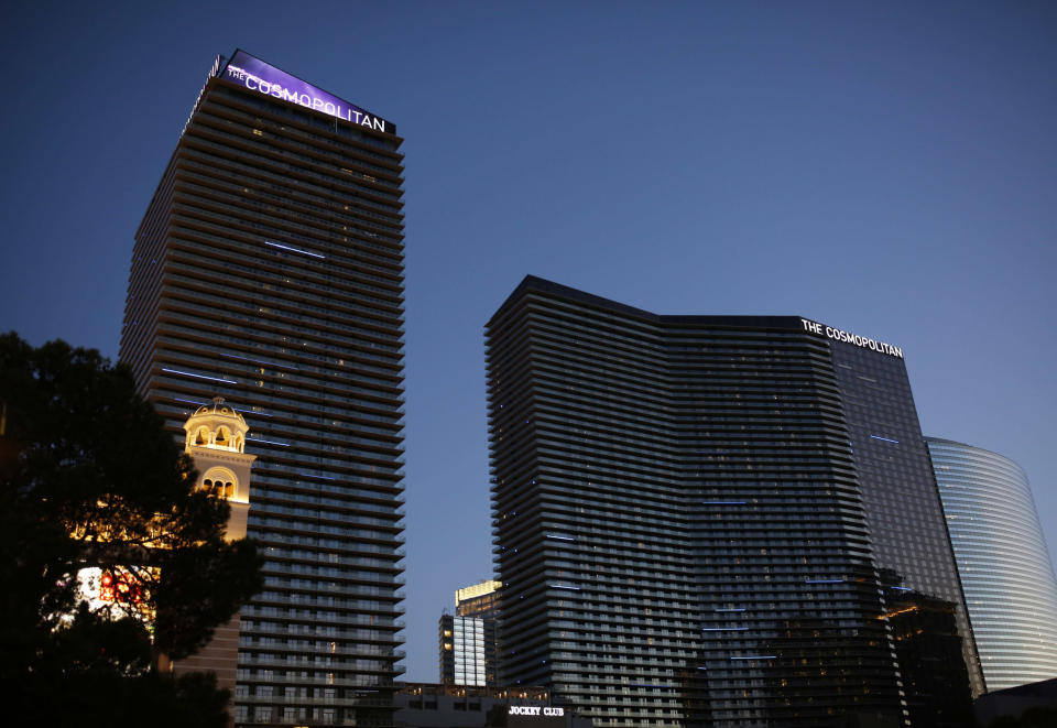 FILE - In this July 1, 2018, file photo, shows a general view of The Cosmopolitan in Las Vegas. O.J. Simpson is suing the Las Vegas hotel-casino, alleging unnamed employees defamed him by telling celebrity news site TMZ he was ordered off the property in 2017 for being drunk, disruptive and unruly. (AP Photo/John Locher, File)