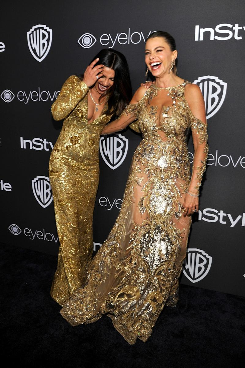 Actresses Priyanka Chopra and Sofía Vergara attended the 2017 InStyle and Warner Bros. 73rd Annual Golden Globe Awards Post-Party. (Photo: Getty Images)