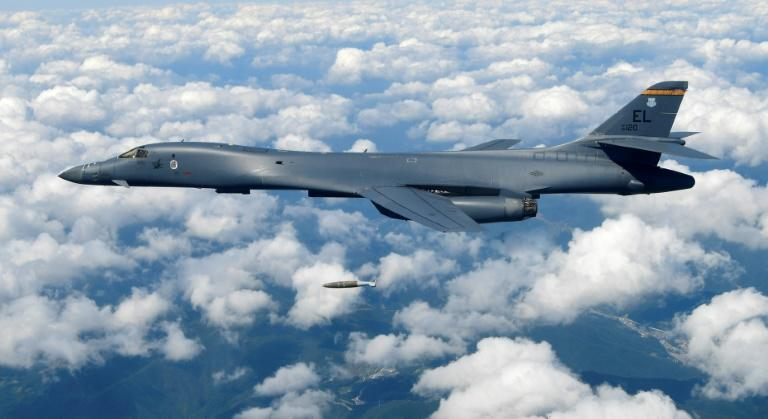 A US Air Force B-1B Lancer dropping a bomb during an exercise over South Korea last year