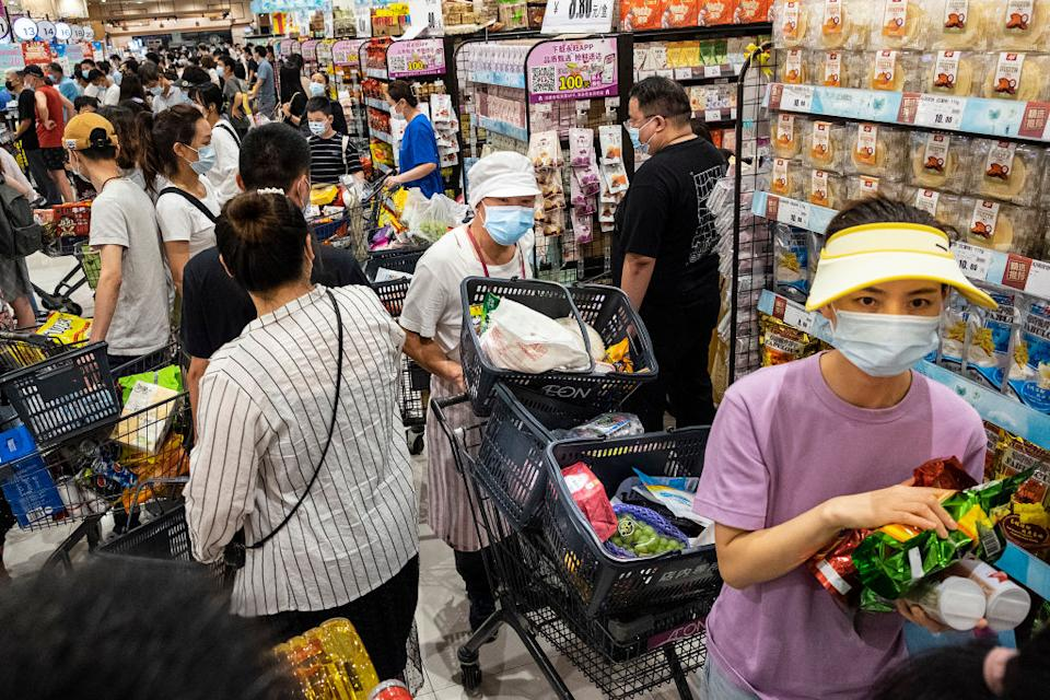 Supermarkets were filled with panic buyers as fears over the virus's spread grew. Source: Getty