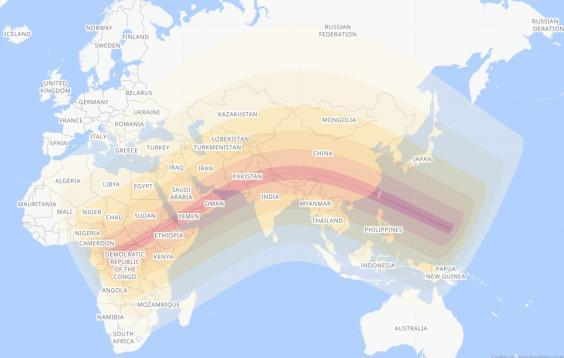 The path of the annular solar eclipse on 21 June 2020 (Timeanddate.com)