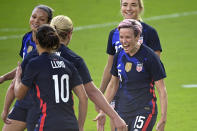 United States forward Megan Rapinoe (15) celebrates after scoring a goal during the second half of a SheBelieves Cup women's soccer match against Brazil, Sunday, Feb. 21, 2021, in Orlando, Fla. (AP Photo/Phelan M. Ebenhack)