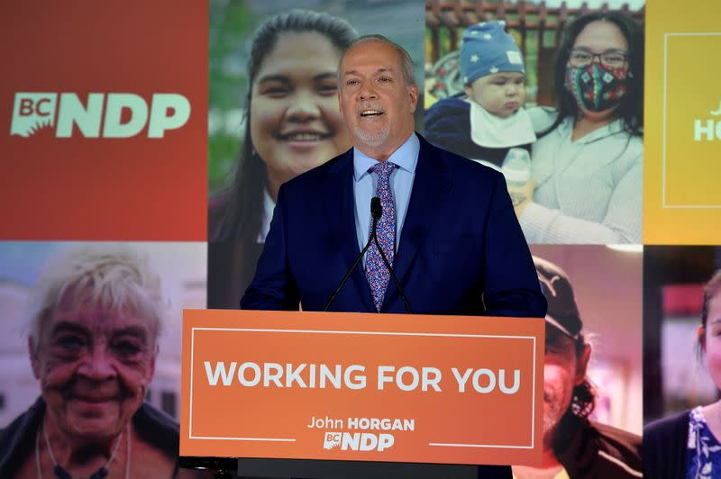 B.C. NDP leader John Horgan speaks in Vancouver after winning a majority in the provincial election