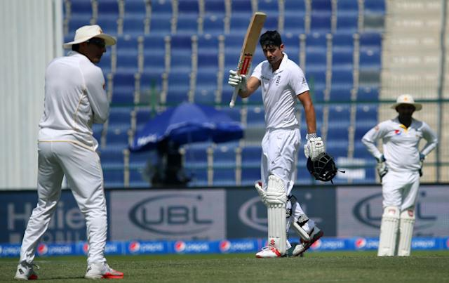 <p>The following winter he was back to his best, with a marathon innings in the searing Abu Dhabi heat. Cook make 263 in, his third double hundred and proof, it was ever in doubt, that he still had it (Getty Images) </p>