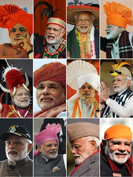 With his neat white beard and a vast collection of headgear, Narendra Modi regales rallies with stories of how he is 'a son of soil' (AFP Photo/SAM PANTHAKY, BIJU BORO, RAKESH BAKSHI, PRAKASH SINGH, ED JONES, DON MACKINNON, STR, Handout)