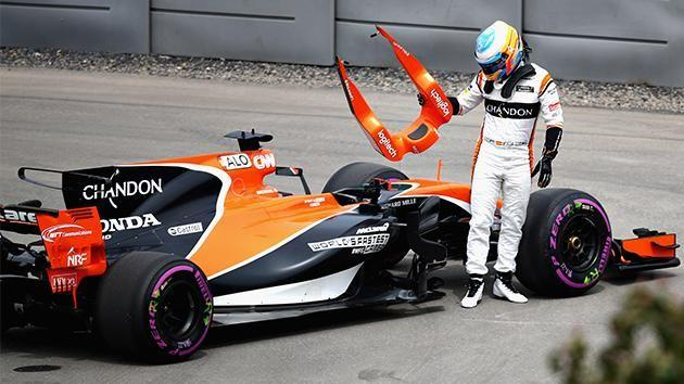 Fernando Alonso walks away from more car troubles. Pic: Getty
