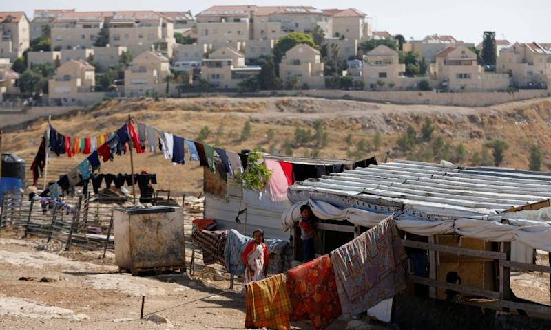 Palestinian children in the West Bank town of al-Eizariya, in the shadow of the Maale Adumim settlement.
