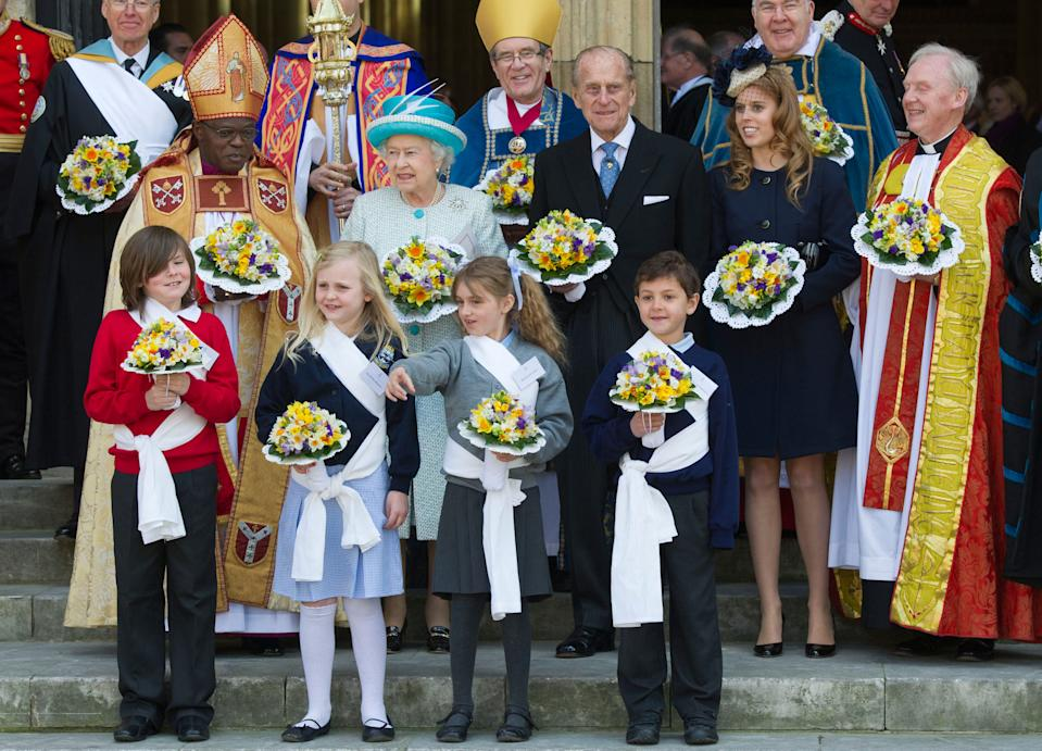 YORK, ENGLAND - APRIL 05:  (Middle L-R) Archbishop of York John Sentamu, Queen Elizabeth II, Prince Philip, Duke of Edinburgh and Princess Beatrice attends a Maundy Thursday Service at York Minster on April 5, 2012 in York, England. Queen Elizabeth II, Prince Philip, Duke of Edinburgh and Princess Beatrice are visiting York today as part of the Diamond Jubilee celebrations.  (Photo by Arthur Edwards/WPA Pool/Getty Images)