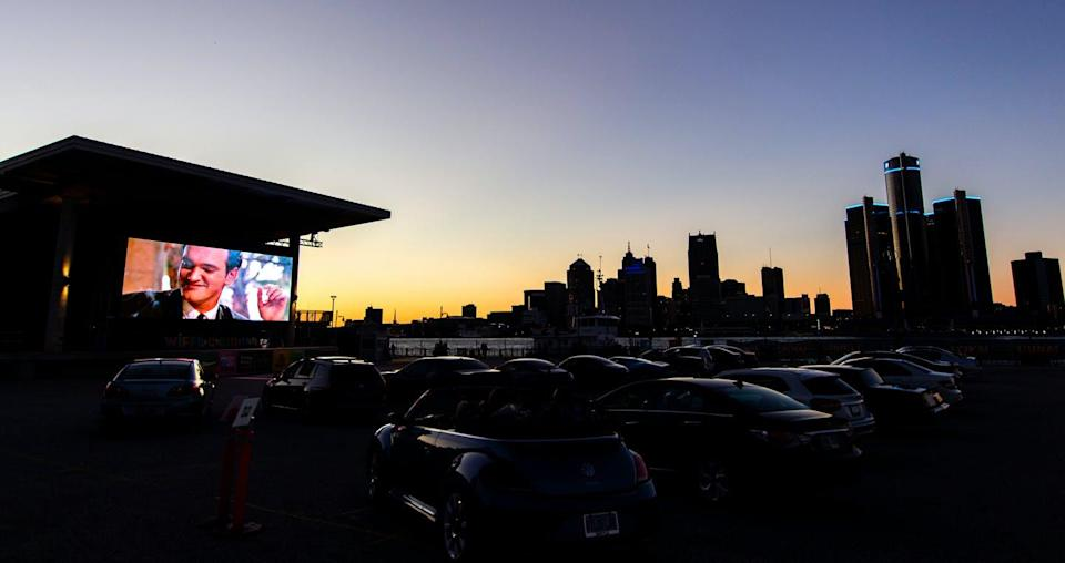 """<span class=""""caption"""">Drive-in screen seen at Windsor International Film Festival Under the Stars 2020.</span> <span class=""""attribution""""><span class=""""source"""">(Erika Sanborn, WIFF)</span>, <span class=""""license"""">Author provided</span></span>"""