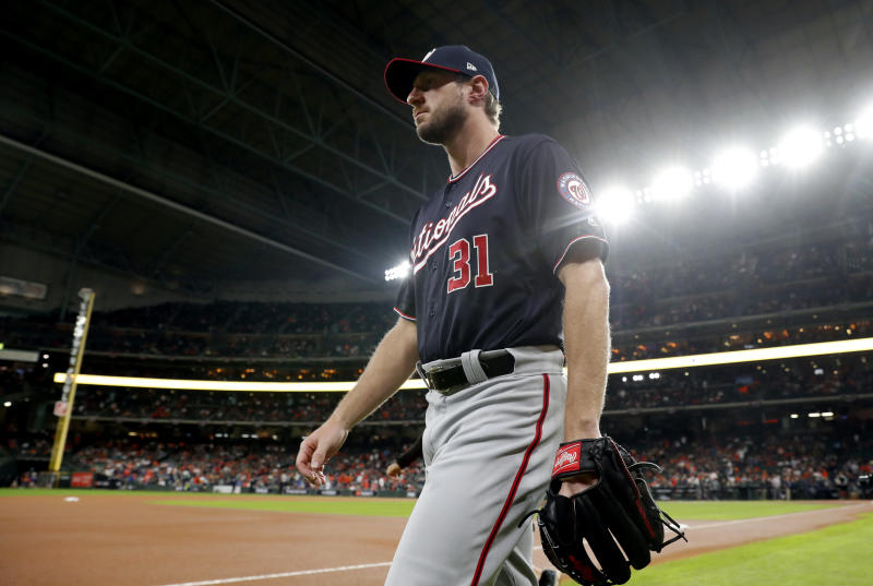 HOUSTON, TX - OCTOBER 30: Starting pitcher Max Scherzer #31 of the Washington Nationals walks to the bullpen before Game 7 of the 2019 World Series between the Washington Nationals and the Houston Astros at Minute Maid Park on Wednesday, October 30, 2019 in Houston, Texas. (Photo by Rob Tringali/MLB Photos via Getty Images)