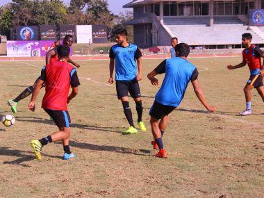 Minerva Punjab FC players during a training session.
