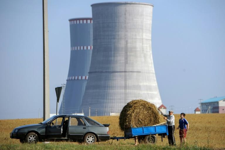 Belarus's new nuclear power plant, pictured here while still under construction, is located close to the border of Lithuania and its capital Vilnius