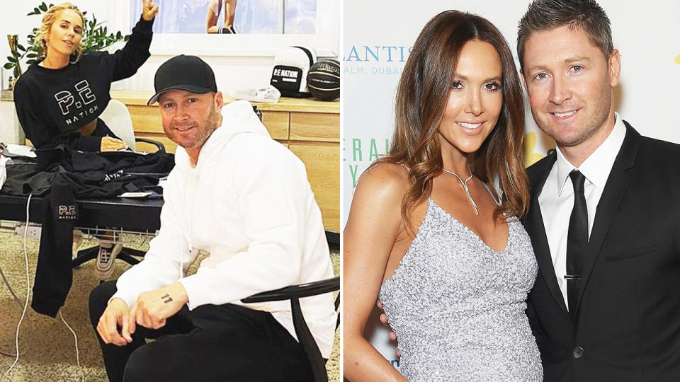 Michael Clarke has reportedly confirmed his new relationship with Pip Edwards (L) after splitting with wife Kyly (R). Images: Instagram/Getty