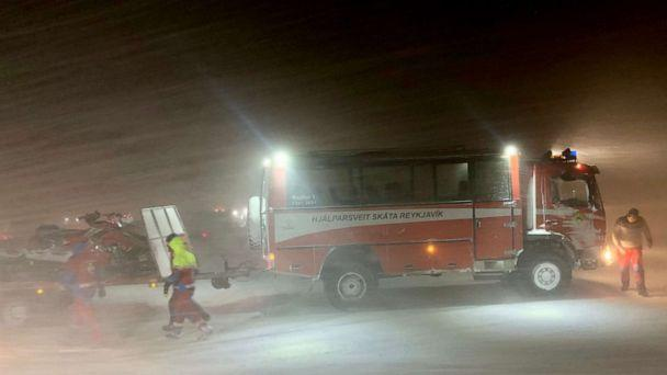 PHOTO: Thirty-two people were rescued from a glacier in Iceland after getting stuck during a blizzard on Jan. 7, 2020. (Edvard Williamsson via Storyful)