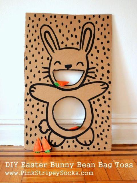 "<p>In between festivities and food, entertain kids with this DIY bunny bag toss. They'll love the cute, grinning bunny. </p><p><strong>Get the tutorial at <a href=""http://www.pinkstripeysocks.com/2014/04/diy-easter-bunny-bean-bag-toss.html"" rel=""nofollow noopener"" target=""_blank"" data-ylk=""slk:Pink Stripey Socks"" class=""link rapid-noclick-resp"">Pink Stripey Socks</a>.</strong></p>"