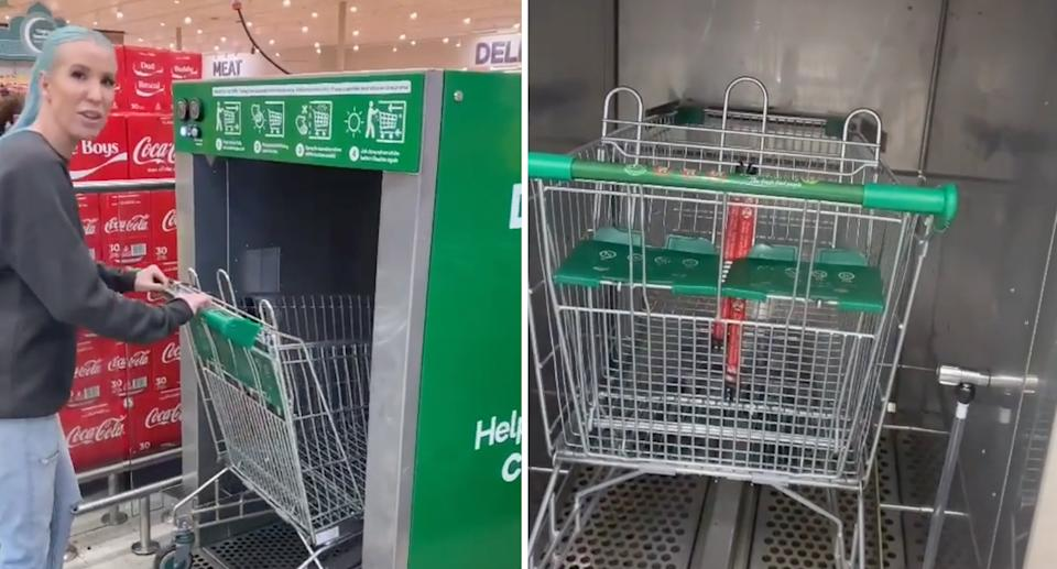A woman pushing her trolley into the Woolworths disinfecting machine.