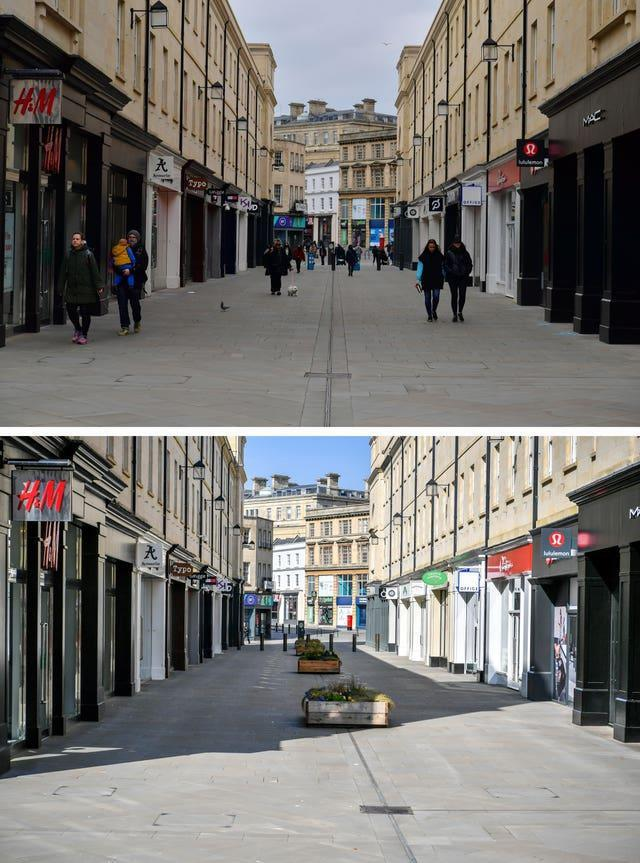 Composite of photos of Bath taken today (top) and the same view on 24/03/20 (bottom), the day after Prime Minister Boris Johnson put the UK in lockdown