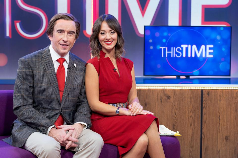 <p>Alan Partridge (Steve Coogan) and Jennie Gresham (Susannah Fielding) are back on the sofa</p> (BBC/Baby Cow/Gary Moyes)
