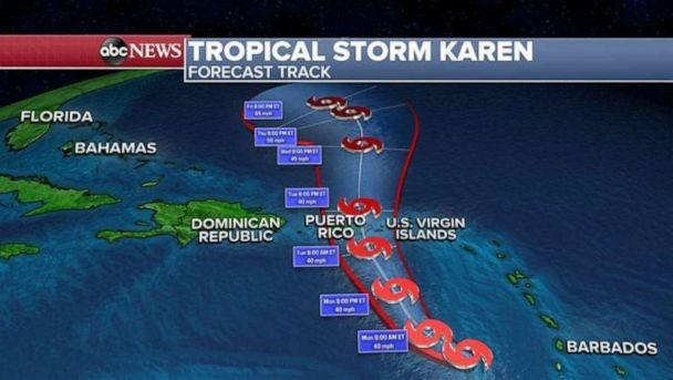 PHOTO: Tropical Storm Karen is now a minimal Tropical Storm with winds gusting at only 40 mph. (ABC News)