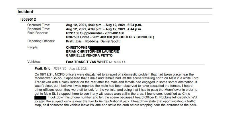 A police report detailing an argument between Gabrielle Petito and Brian Laundrie. (Moab Police Department)